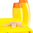 Stock Photo: Terry towels, shampoo and starfish