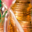 Hourglass and coins — Stockfoto #2060277