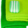 Green terry towels and soap — Stock Photo