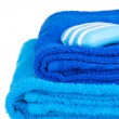 Stock Photo: Blue terry towels and soap