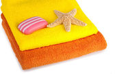 Colour terry towels, soap and starfish — Stock Photo