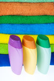 Shampoo and colour terry towels — Stock Photo