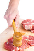 Pork piece lies on a chopping board — Stock Photo