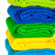 Colour  towels combined by pile - Stock Photo