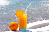 Glass of fresh orange juice — Stock Photo