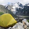 Yellow tent in the Caucasus — Stok fotoğraf