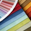 Fabric and opened color card — Stock Photo #1261469