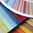 fabric and opened color card — Stock Photo