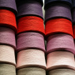 Bobbins with the coloured threads — Stock Photo