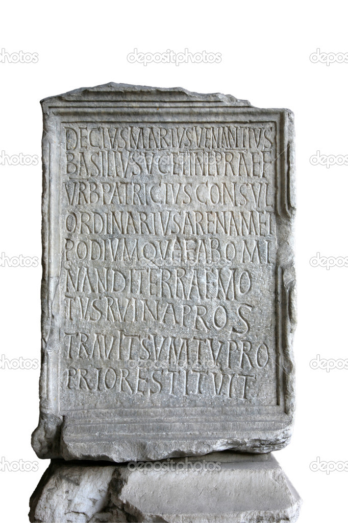 Text on a stone in Coliseum, Rome  Stock Photo #1290520