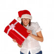 Santa girl with christmas present — Stock Photo #1380322