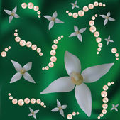 Flowers and pearls on the green — Stock Vector