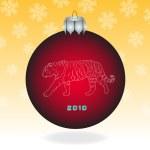 Red fur-tree ball — Stock Photo