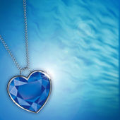 Card with blue diamond heart for design — Stock Photo