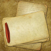 Grunge old papers for design with red ri — Stock Photo