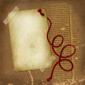 Old paper with red rope for desing — Stock Photo