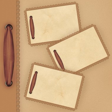 Brown background with lace and card for
