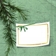 Card with christmas tree on background — Stock Photo