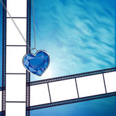Film on background with blue diamond — Stock Photo