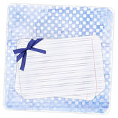 Blue background with note paper and bow — Stock Photo