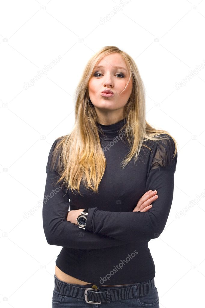 Portrait of a beautiful young blond female — Stock Photo #1318035