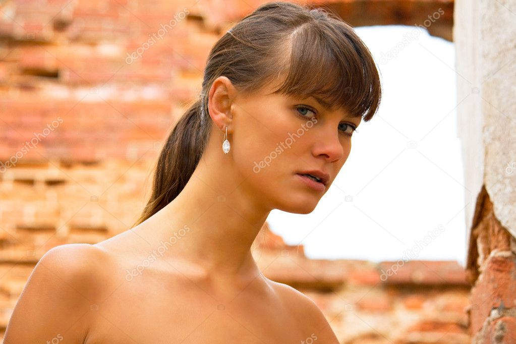 young girl at old building — Stock Photo #1318863