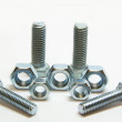 Four head bolts and Five screw nuts — Stock Photo #1204006
