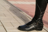 Black high boot — Stock Photo