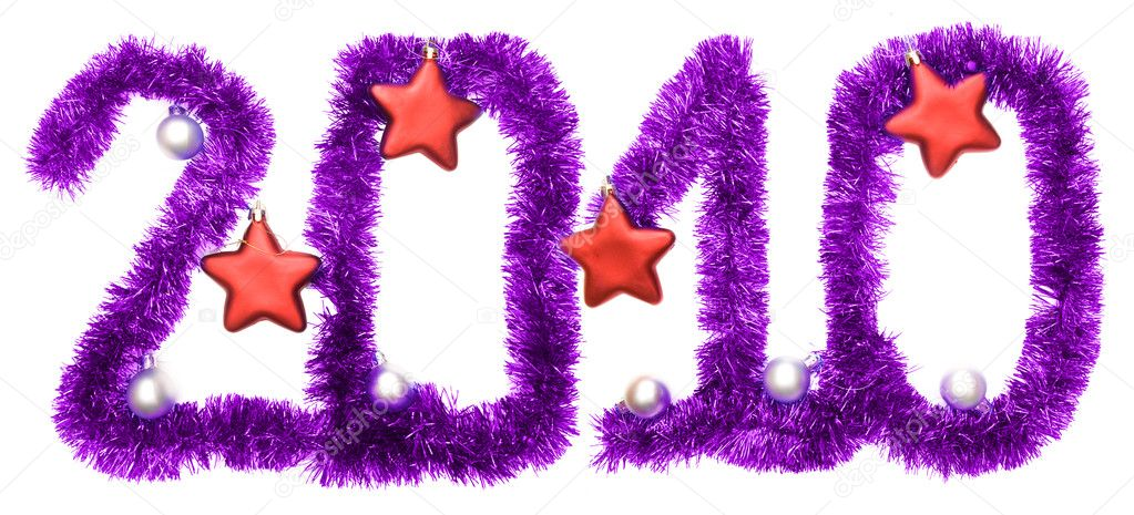 New year 2010, red stars  Stock Photo #1204347