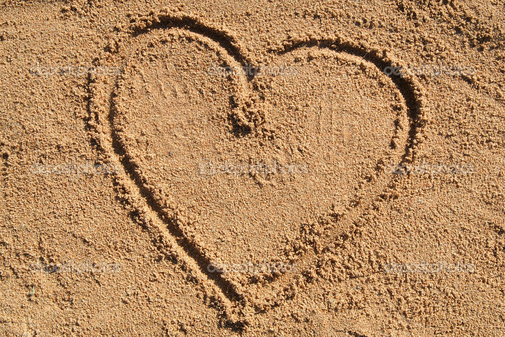 Heart, sand, beach  Stock Photo #2592765