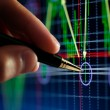 Hand and pen pointer, chart — Stock Photo