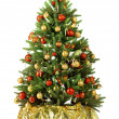 Christmas fir tree with colorful lights - Stok fotoğraf