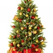 Christmas fir tree with colorful lights - Stock Photo
