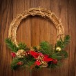Christmas wreath on the door — Stok fotoğraf