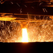 Molten steel pouring — Stock Photo