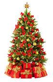 Fir kerstboom met kleurrijke verlichting — Stockfoto