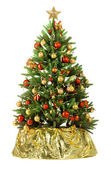 与七彩灯圣诞杉木树 — 图库照片