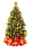 Christmas fir tree with colorful lights — Stok fotoğraf