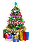 Julgran gran med färgglada lampor — Stockfoto