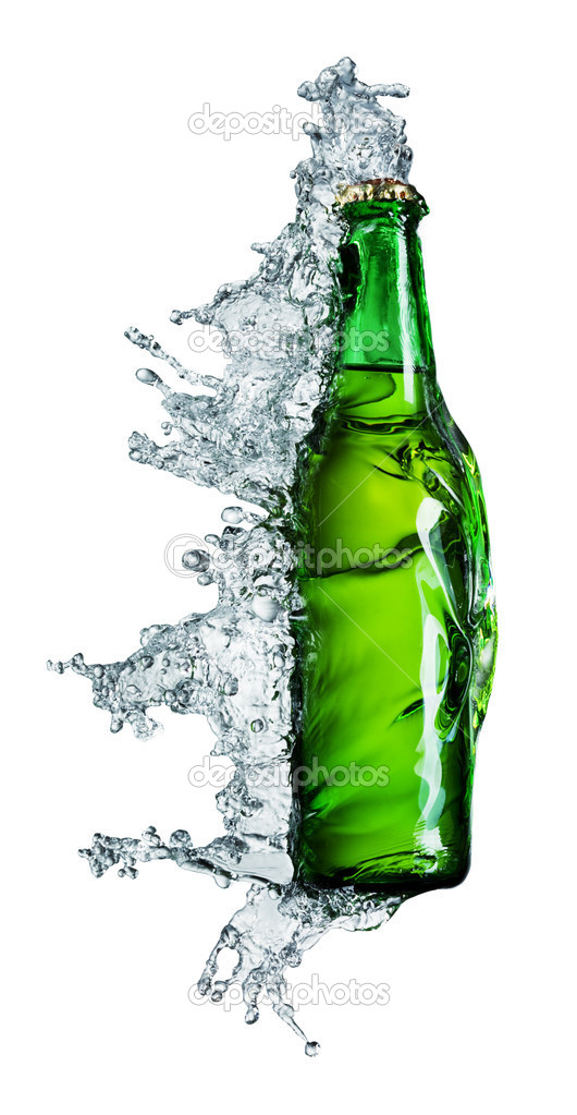Beer bottle being poured in a water on white  Stock Photo #1333503
