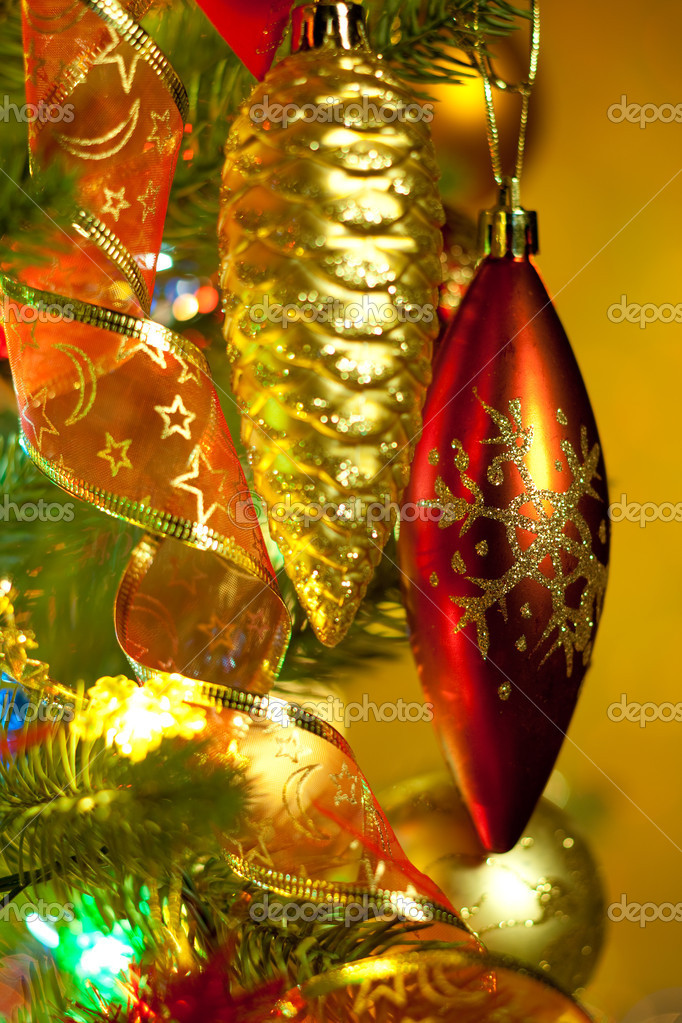 Christmas fir tree with colorful lights and decorations.   Stock Photo #1333954