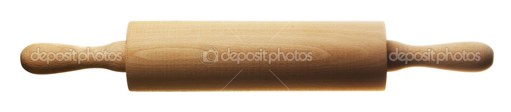 Kitchen rolling pin isolated over white background — Stock Photo #1336862