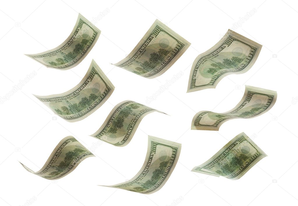 Falling dollars to stack, isolated on white — Stock Photo #1337503