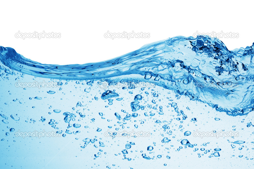 Bubbles forming in blue water, isolated — Stock fotografie #1337607