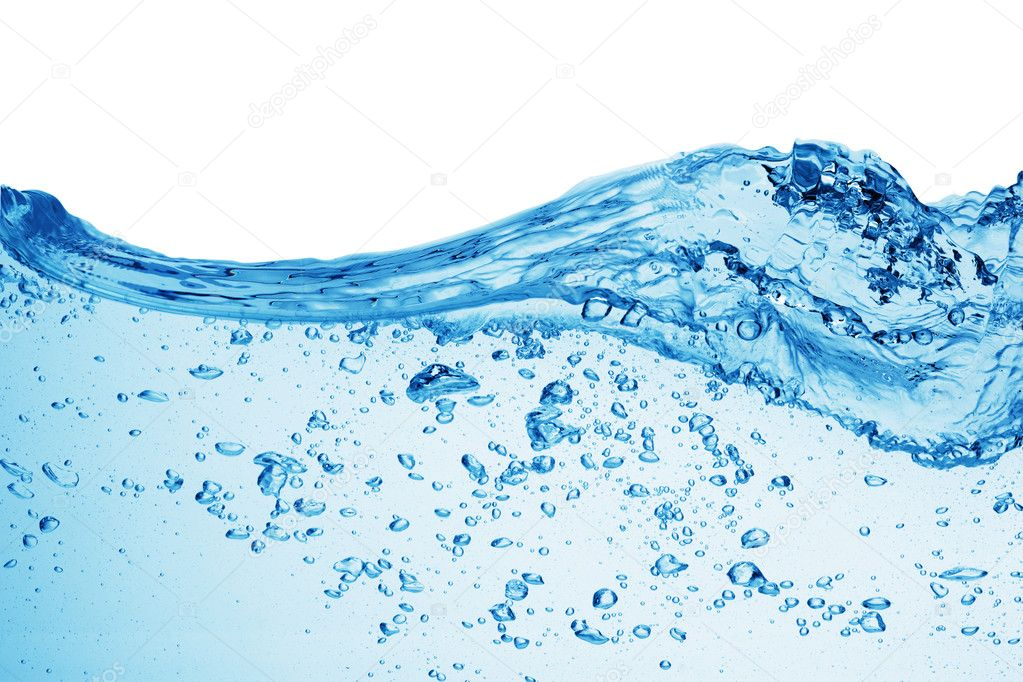 Bubbles forming in blue water, isolated  Photo #1337607