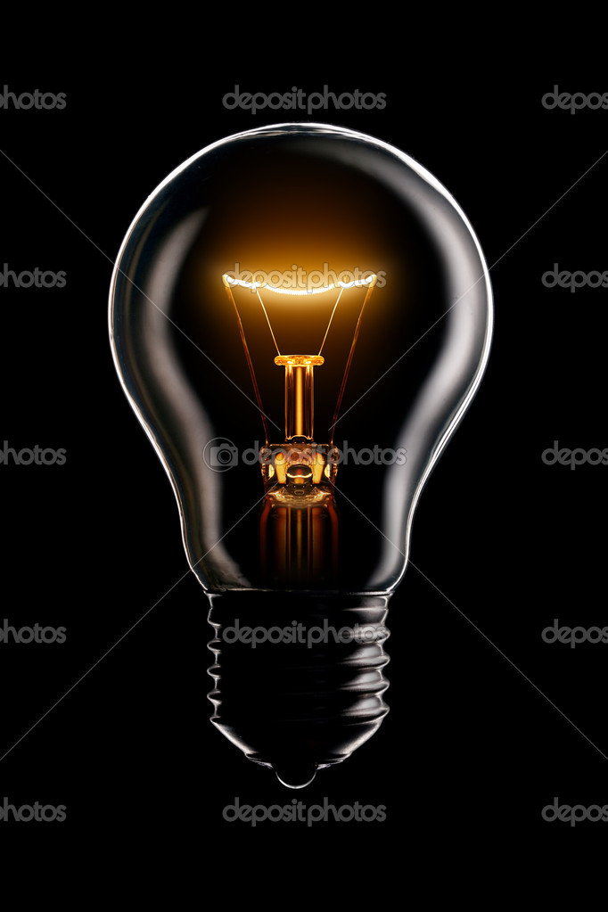 Glowing lamp on black background — Stockfoto #1337687