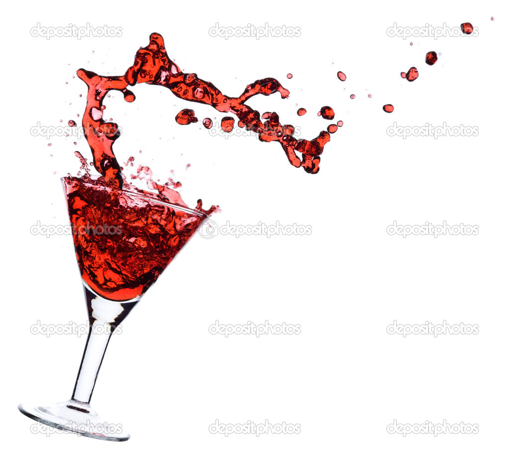 Red Martini being poured in a martini glass; isolated on a white background. — Stock Photo #1337855