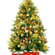 Christmas fir tree with colorful lights - Zdjcie stockowe