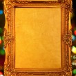 Gold antique frame, abstract bokeh backg — Stock Photo