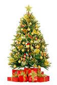 Abeto de navidad con luces de colores — Foto de Stock